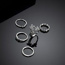 NJ 5 Piece/ Set Flowers Unique Ring For Woman Cool Punk Style Silver Color Knuckle Rings Women Finger