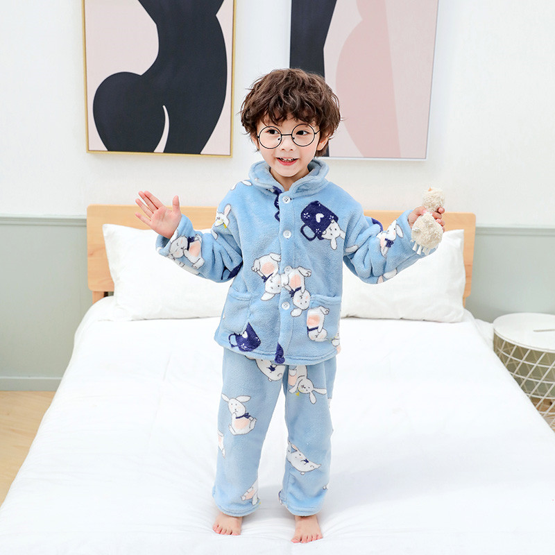 Winter Flannel Kids Pajamas Sets Child Warm Sleepwear Cartoon CARTOON Print Baby Girls Boys Nightwear Children