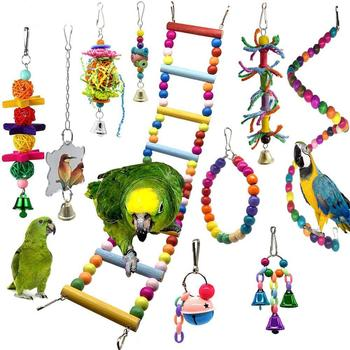 10 Pcs Bird Swing Chewing Training Toys Parrot Hammock Parrot Cage Bell Perch Toys with Wooden Beads Hanging Toys Set 8pcs parrot toys birds toys swing bird chewing toys birds cage toys