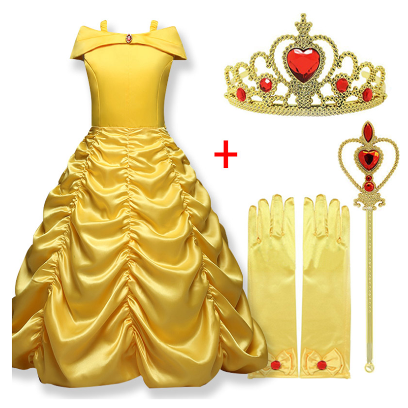 Fantastic Beauty And The Beast Dress For Girl Off Shoulder Yellow Sexy Belle Princess Party Cosplay Costume Kids Party Clothes