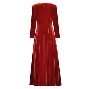 Image 2 - Abbigliamento donna autunno inverno tinta unita nero/vino rosso velluto scollo a v bottoni frontali abito a vita alta a metà polpaccio