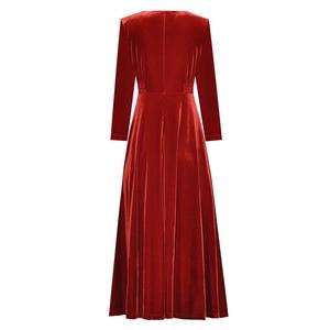 Image 2 - เสื้อผ้าสตรีฤดูใบไม้ร่วงฤดูหนาวสีทึบสีดำ/ไวน์แดงกำมะหยี่Vคอด้านหน้าปุ่มกลางลูกวัวความยาวเอวชุด