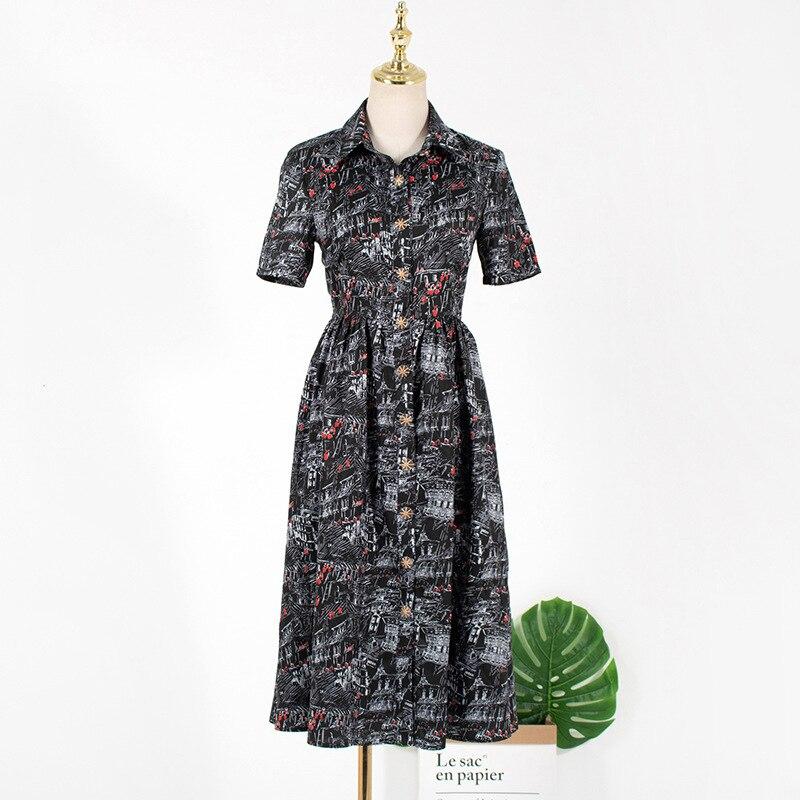 Summer Dress 2020 Women Elegant Printed Long Dress The King 김고은 Ladies Short Sleeve Party Dresses Vestidos De Fiesta L597