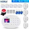 KERUI W20 GSM Wifi сигнализация 2 4 дюймов Сенсорная панель WiFi GSM охранная сигнализация Система приложение RFID мини передвижной PIR сенсор сирена