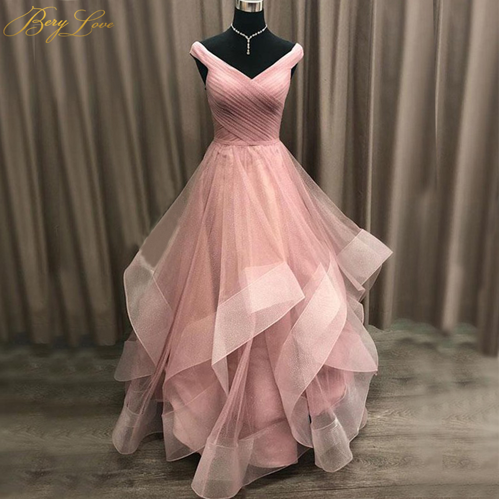 BeryLove Pink Long Prom Dresses 2019 Pleated Crisscross Shoulder V Neck Ruffles Skirts Young Girl Prom Gown Vestido Long