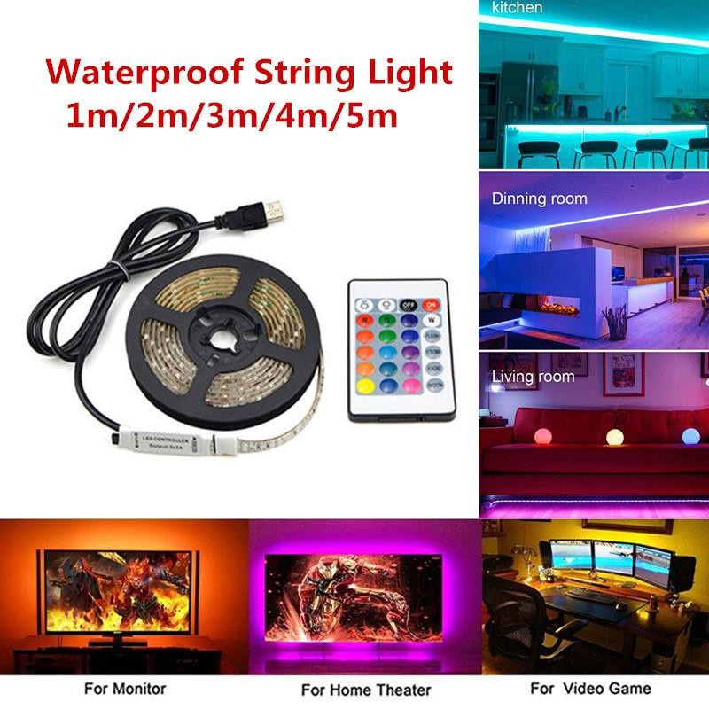 50-200CM USB LED Strip Remote Control Home Living Room Light TV Back Lamp 5050RGB Colour Changing DC 5V String Lighting#es