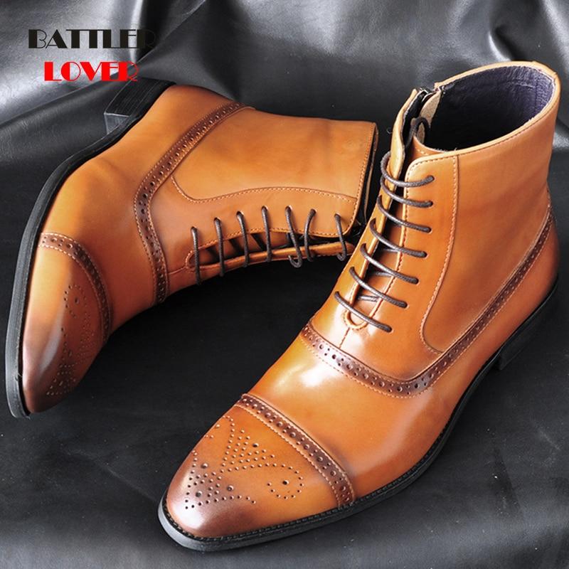 Men Boots Cow Leather Side Zipper Lace Up Men High Top Brogue Shoes Man Oxfords Genuine Leather Boots Punk Men Zapatos De Hombre