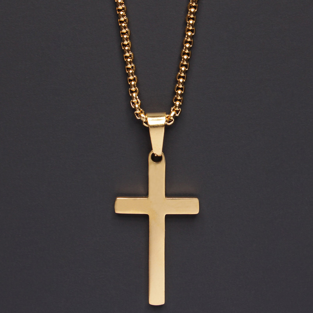 2020 Fashion New Classic Cross Men Necklace  Stainless Steel Chain Pendant Necklace For Men Jewelry Gift 6
