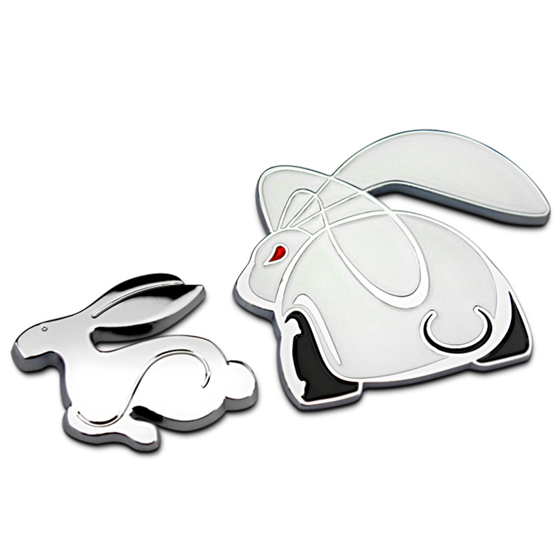 3D Metal Car Sticker Rabbit Logo Emblem Badge Car Trunk Decoration Accessories For <font><b>VW</b></font> <font><b>Golf</b></font> 7 4 6 5 For <font><b>Golf</b></font> <font><b>GTI</b></font> MK4 MK5 <font><b>MK3</b></font> MK7 image
