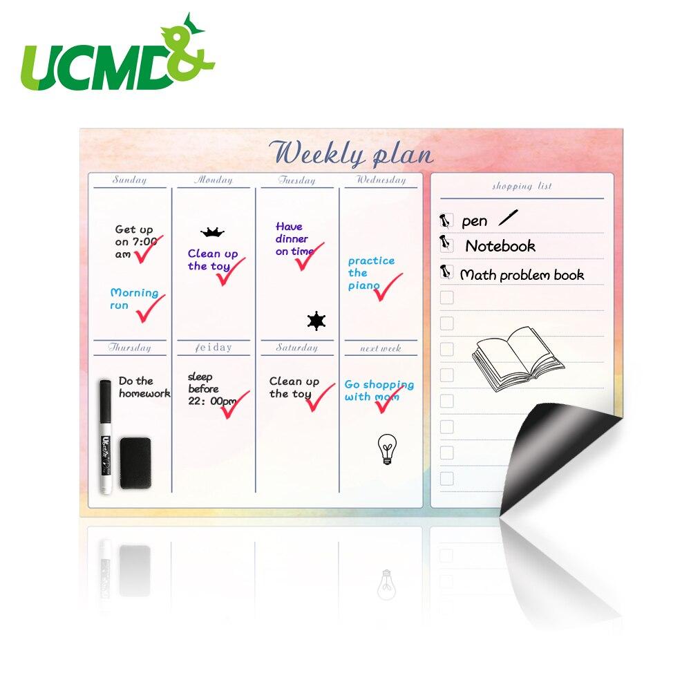 42x30 cm mes UCMD Calendario semanal de borrado en seco magn/ético para refrigerador