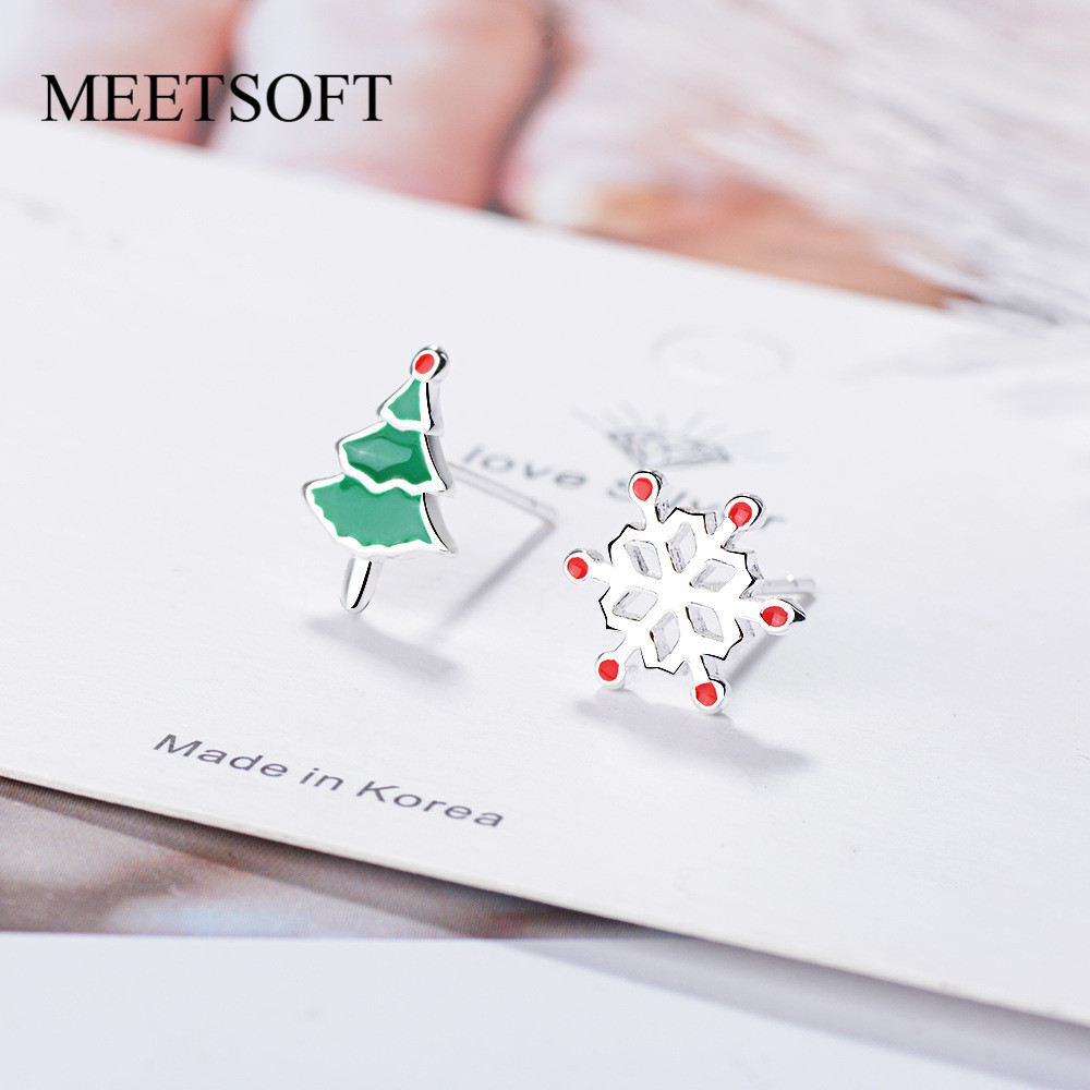 MEETSOFT 925 Silver Prevent Allergy Stud Earrings for Women Design Trendy Small Christmas Tree Snowflake Jewelry Gift