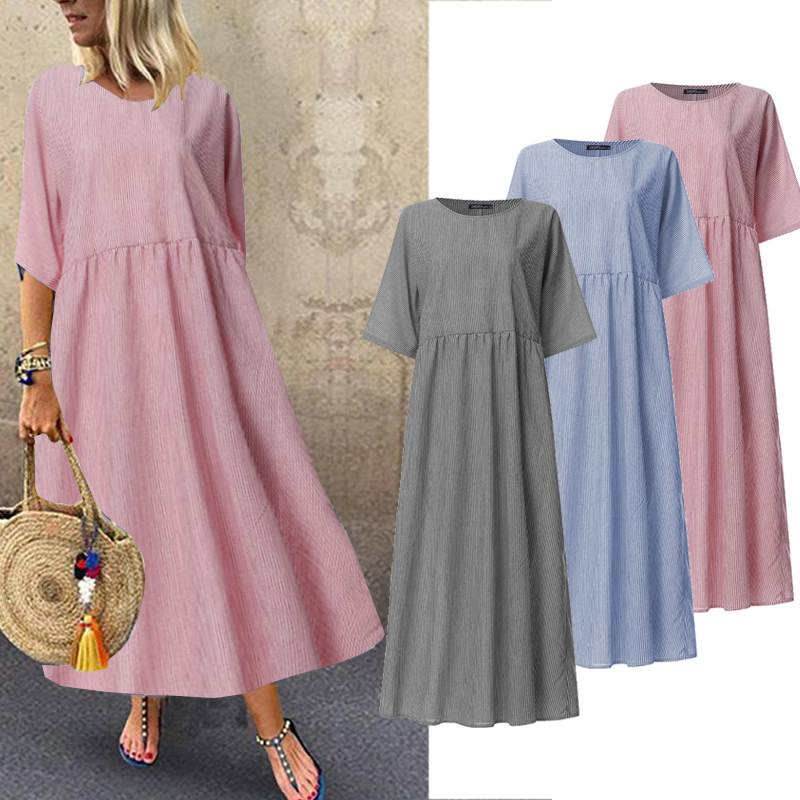 ZANZEA Plus Size Striped Dress Women Casual Long Maxi Vestidos 2019 Vintage O Neck Summer Sundress Cotton Linen Robe Femme 5XL