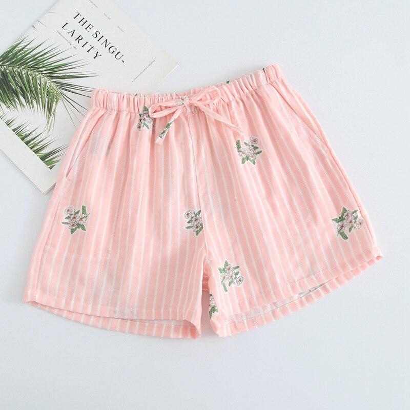 Летние женские Пижамные шорты, хлопковые газовые пижамы, штаны с принтом, штаны для сна, одежда для сна, женская одежда для сна - Цвет: Pink stripe