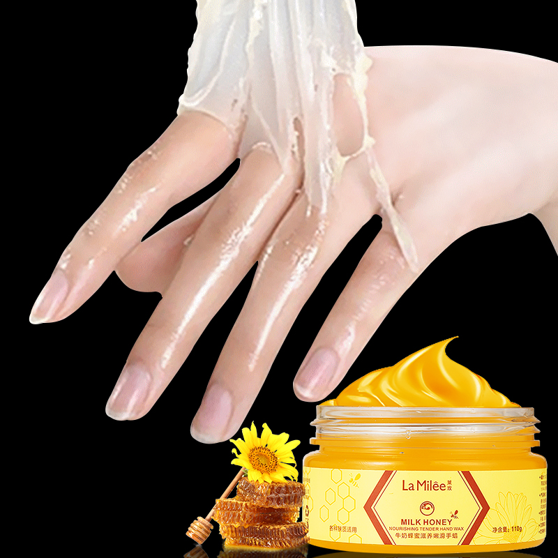 Milk Honey Hand Masks Hyaluronate Beeswax Hand Cream Moisturizing Whitening Exfoliating Tender Smoother Hand Care Scrub 110g