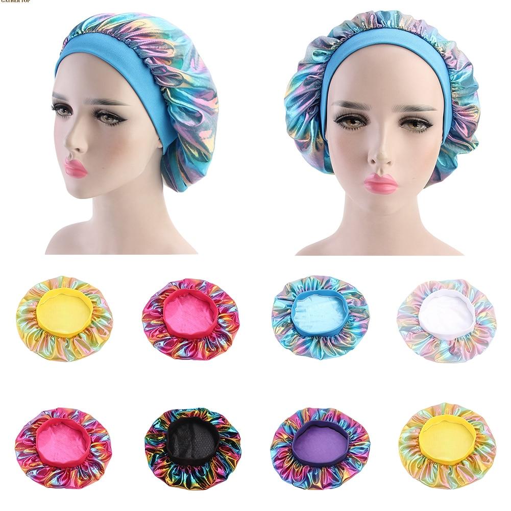 Fashion Women Laser Satin Bonnet Wide Band Cap Night Sleep Hair Loss Chemo Cap Head Coverings Hair Accessories Wholesale