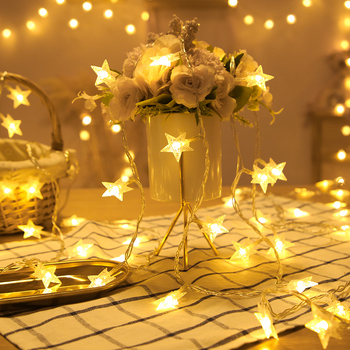 10/20/40 LED Star Light String Twinkle Garlands Battery Powered Christmas Lamp Holiday Party Wedding Decorative Fairy Lights image