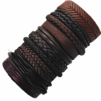 10pcs/set Black Wrap Woven New Fashion Handmade Men Bracelets Male Women Leather Bracelet Men Bangle Wholesale Jewelry Gift