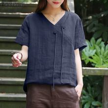 Tops Blouse Chemise Tunic Short-Sleeve Shirt Vintage Loose Female V-Neck Summer Women