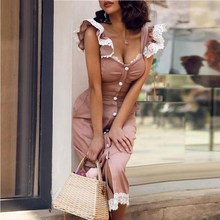 Women Lace Button Ruffles Dress Casual Sheath Knee-Length Elegant Solid Slim Fit Holiday Sweet Party