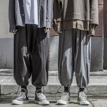 Pants Men Black Joggers Streerwear Baggy Pants Loose Elastic waist Ankle length Trousers Gray Casual men ankle length loose cargo pants solid black color casual jogger side all match pocket elastic waist trousers spring