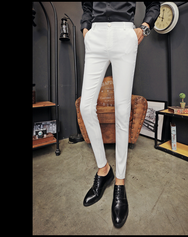 2020 New Pantalon Homme Korean Fashion Solid Pants Men Slim Fit Casual Elastic Streetwear Suit Pant Long Trousers Men Clothing 24