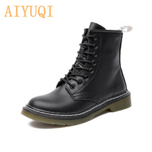 AIYUQI Women Boots Shoes Genuine Leather Large Size Ladies Motorcycle Boots Lace UP British Style Fashion Fur Booties Women