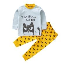 2 предмета, Детская осенняя одежда г., одежда для маленьких мальчиков и девочек, пижамный комплект, новая осенняя хлопковая рубашка с длинными рукавами для малышей, одежда для сна