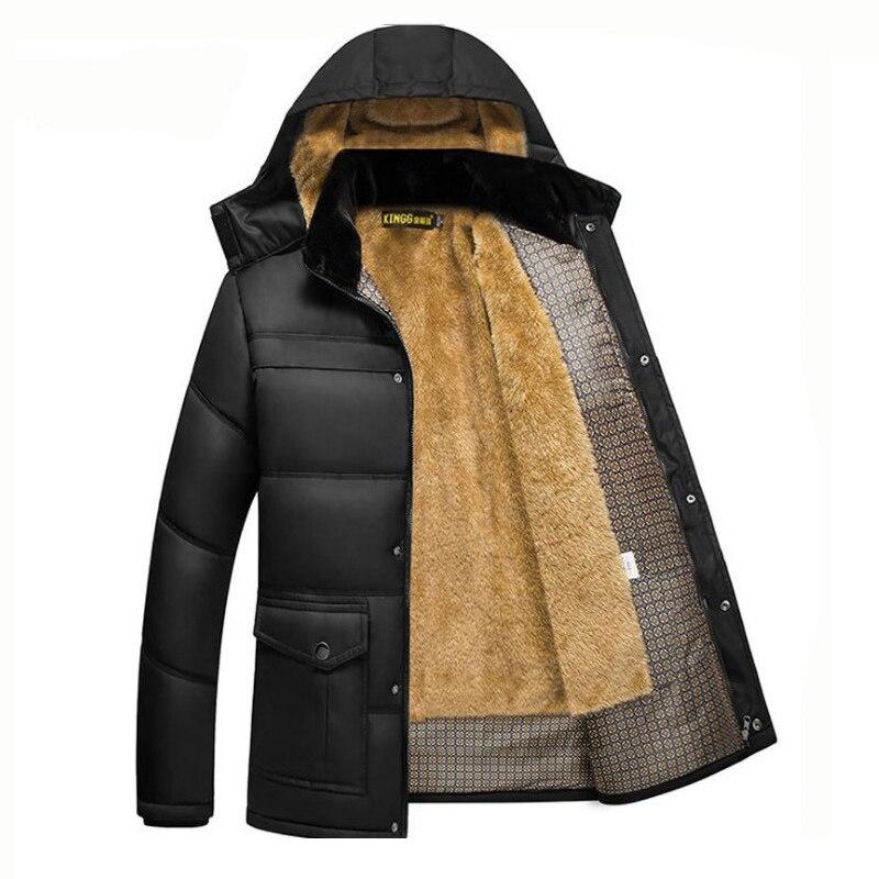Winter Men Jacket Coat Warm Fleece Casual Hooded Outwears Male Parka Coats Men's Plus Velvet Thicken Fur Zipper Overcoat ,GA502