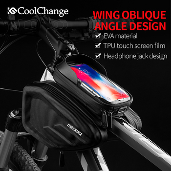 CoolChange Waterproof Bike Bag Frame Front Head Top Tube Cycling Bag Double IPouch 6.2 Inch Touch Screen Bicycle Bag Accessories cbr outdoor cycling bike touch screen top tube bag black grey