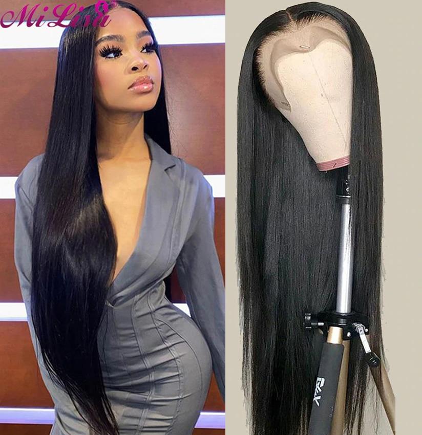 Парик 13X6 из прямых человеческих волос на сетке спереди, парики для чернокожих женщин, парик с застежкой 4x30 дюймов, малайзийский прямой парик...