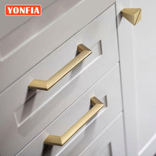 YONFIA 3669 Hot Sale Modern Style Brushed Gold Office Accessories Drawer Pulls Nordic Simple Closet Handles for Furniture