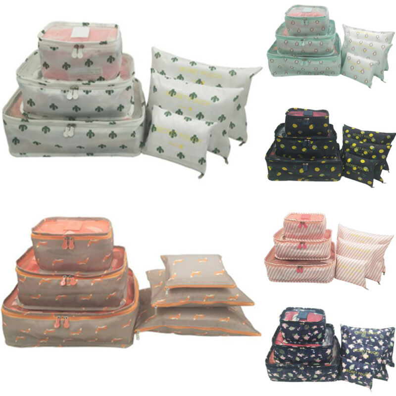 6Pcs Travel Storage Bag Waterproof Clothes Packing Cube Luggage Organizer Set Print Container Zipper Travel Totes