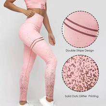 Pantalones delgados dorados de cintura alta Sexy Leggings para Fitness Mujer Push Up Gym Pants Mallas Mujer Deportivas Leggins(China)