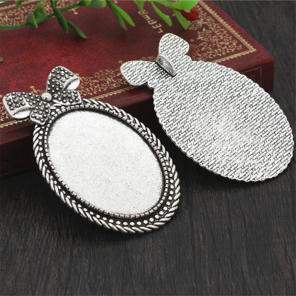 New Fashion 5pcs 30x40mm Inner Size Antique Silver Plated Color Bow Style Cabochon Base Setting Charms Pendant (B4-31)