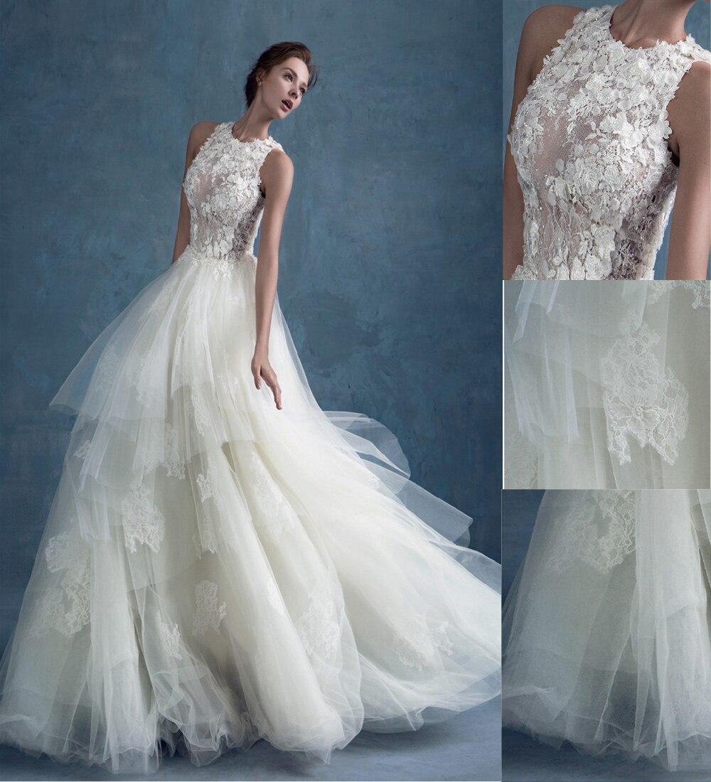 Romantic Scoop Sleeveless Appliques Long See Through Tulle Lace Vintage Wedding Dresses 2019 Vestido De Noiva Wedding Dress