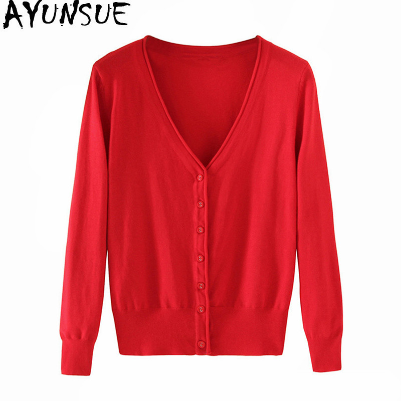 AYUNSUE Women's Cardigan Knitted Sweater Long Sleeve Crochet Female Cardigan With Buttons Short Sweater Women Cardigans WXF246