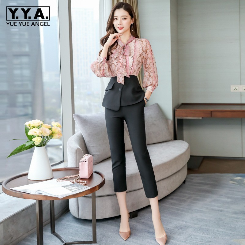 Ladies Elegant Long Sleeve Bow Lace Up Neck Print Chiffon Blouse Fake Piece Ankle Length Pencil Pants Women Two Piece Outfits