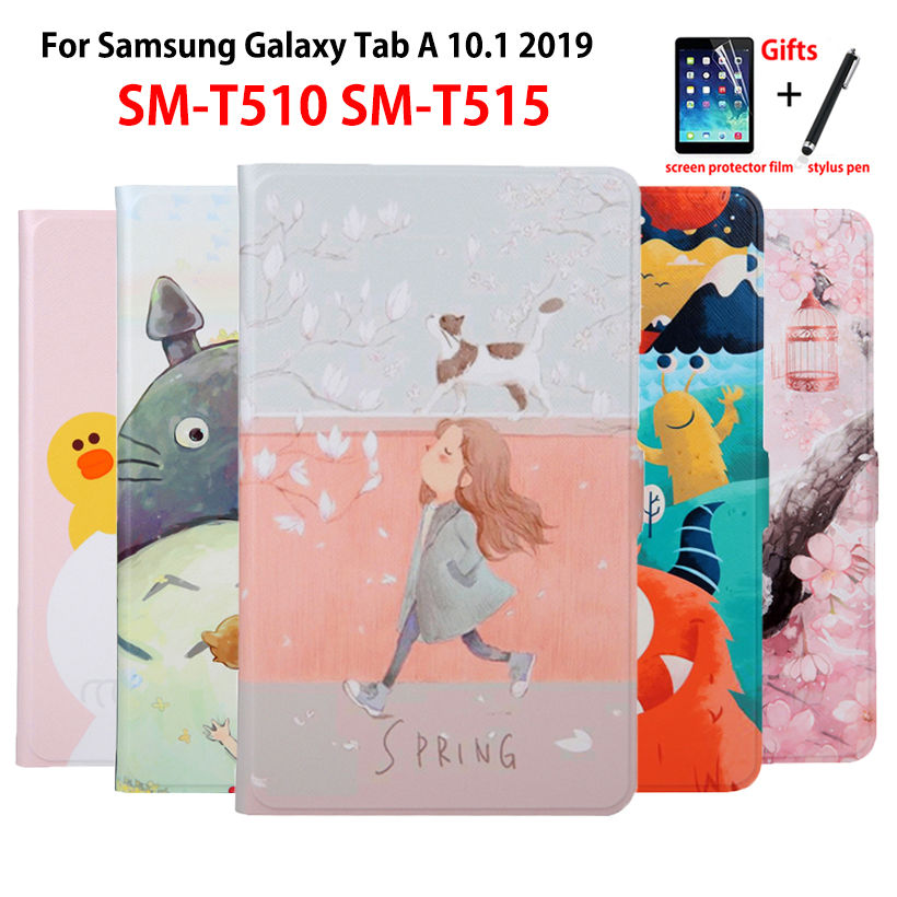 SM-T510 Case For Samsung Galaxy Tab A 10.1 2019 T510 T515 SM-T515 Cover Funda Tablet Slim PU Leather Painted Stand Shell +Gift