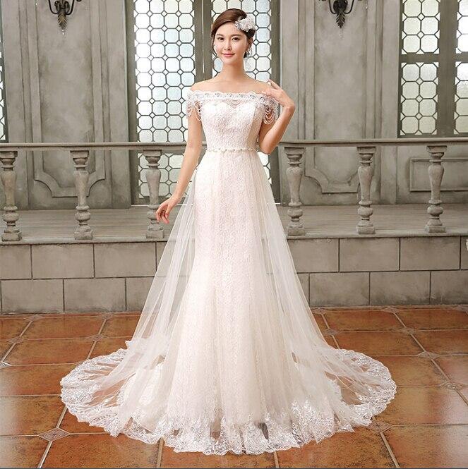Boat Neck Cap Sleeve Lace Wedding Dress 2016 Vestido De Noiva Bridal Gown Costom Vestidos De Casamento Crystal Beading Brides