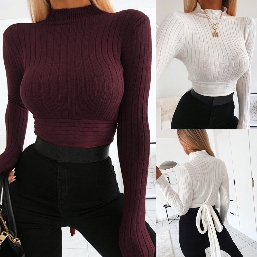 Womens Long Sleeve Sweater Winter Solid Colors High Collar Back Tie Knot Crop Tops Pullover Harajuku Slim Knit Basic Sweaters