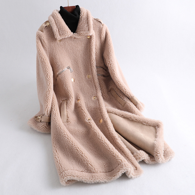 Real Fur Coat Female Wool Jacket Autumn Winter Coat Women Clothes 2020 Korean Vintage Sheep Shearling Warm Tops Manteau Femme