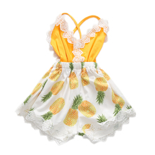1-5T Jumpsuit Baby Girl Sleeveless Pineapple Lace Appliques Rompers Summer Onesie Infant One-piece Outfit Self-tie Back