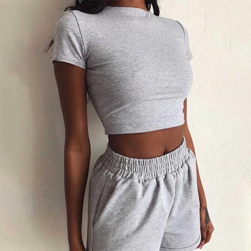 여자 2 피스 복장 세트 아늑한 스포츠 휘트니스 세트 솔리드 컬러 라운드 넥 자르기 짧은 소매 탑 짧은 허리 바지 세트