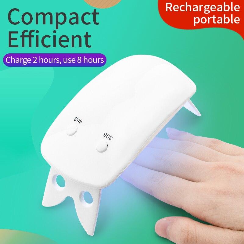 sem fio 6w branco mini maquina de secador de unhas uv lampada led portatil prego ferramenta