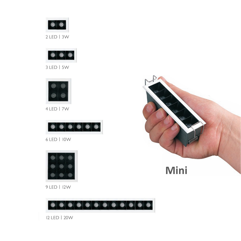 2020 New Linear Mini LED Downlight Square Small Embedded Light 3030 90Ra+ 3W 5W 7W 9W 12W 20W For No Main Lighting Solution