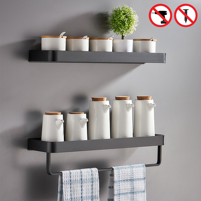 Black Bath Shelves Bathroom Shelf Organizer Nail-free Shampoo Holder Shelves  Storage Shelf Rack Bathroom Basket Holder EL1018 2
