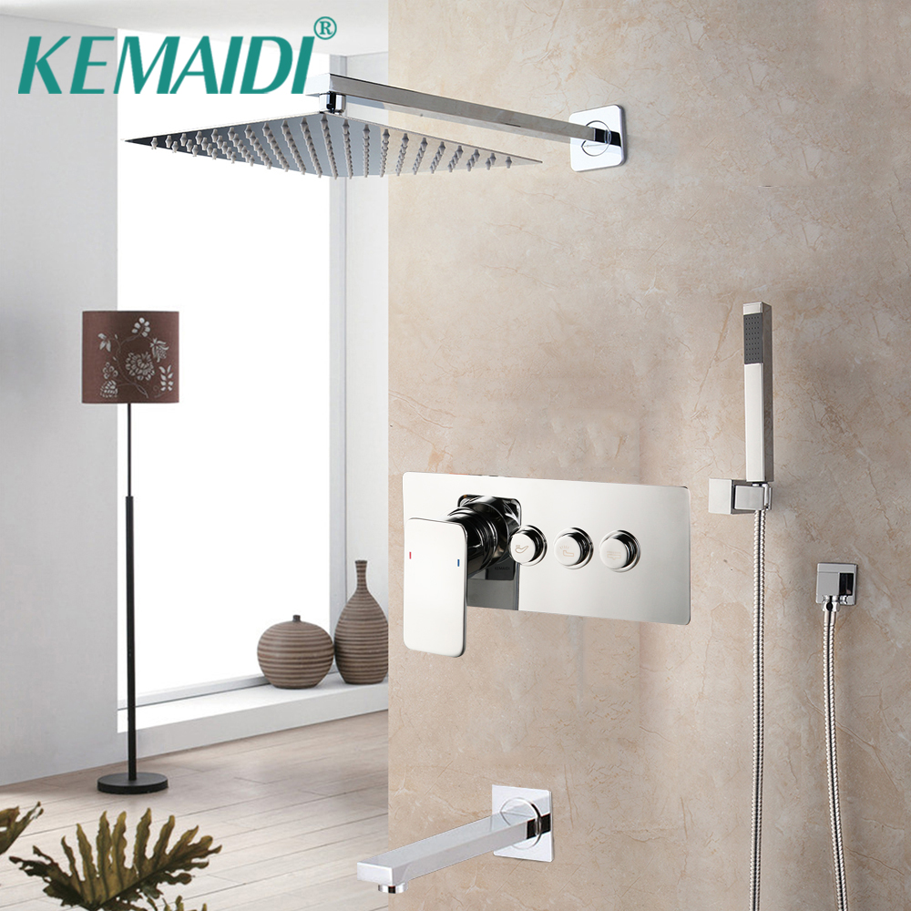 KEMAIDI Chrome Finished  Bathroom Shower  Faucets Rainfall 3 Ways Black Shower Faucet Set Water Separator Angle Top Valve