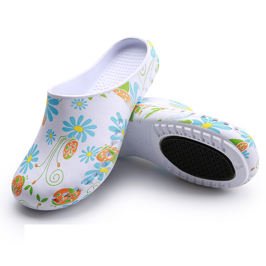 Hospital Surgical Doctor Nurse Shoes Slip On EVA Men Women Ultralite Dentist Beauty Salon Floral Scrub Sandals Flats Slippers