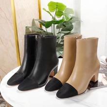 Schnelle lieferung 20120 herbst und winter frauen stiefel hohe ferse echtem leder zips bequem kurze stiefel größe 35-40