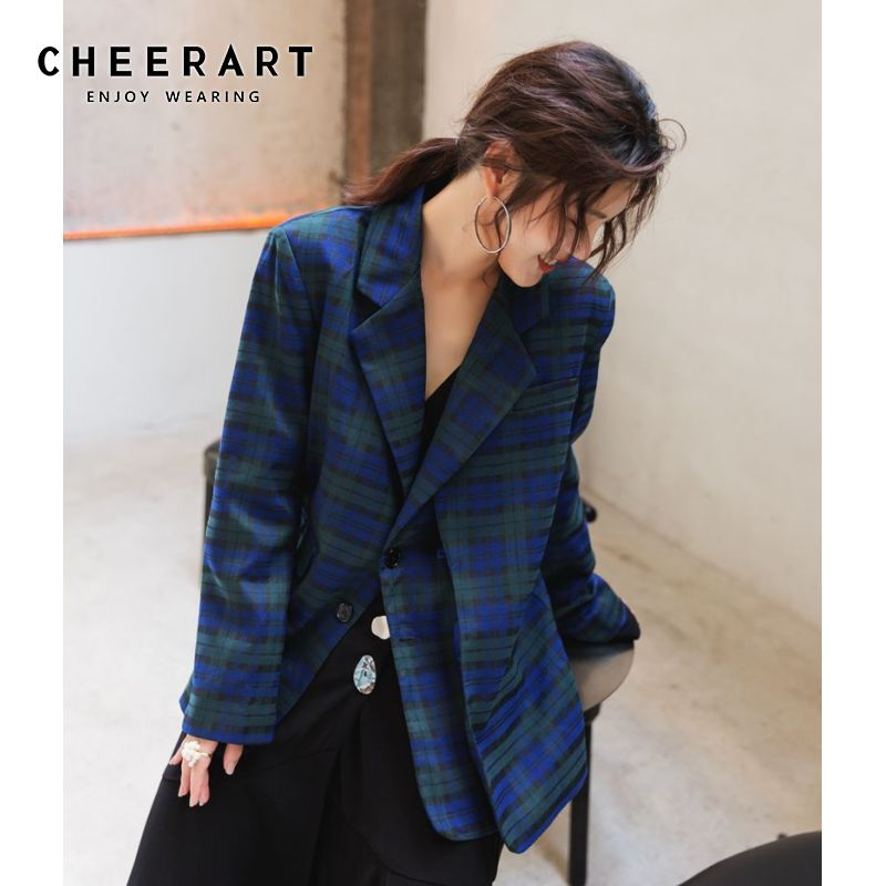 Cheerart Fall 2019 Womens Plaid Blazers And Jackets Green Blue Casual Blazer Autumn Ladies Coats Female Suit Jacket